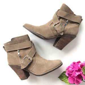DOLCE VITA Taupe Suede Heeled Ankle Boots 7